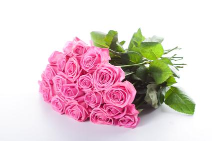 19 long-stemmed pink roses